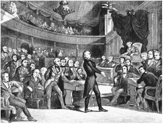 "Henry Clay addresses the Senate in this 1850 drawing. Clay, a senator from Kentucky, was known as the ""Great Compriser""; he engineered a single omnibus bill that formed the substance of what would become known as the Compromise of 1850. (LIBRARY OF CONGRESS, PRINTS AND PHOTOGRAPHS DIVISION)"