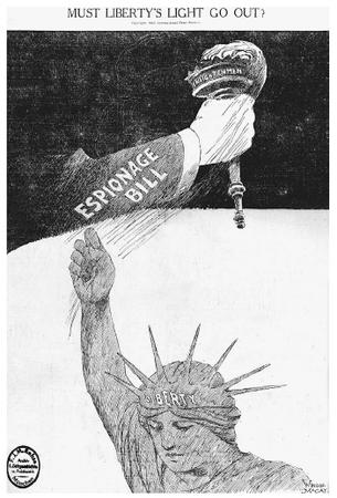 This 1917 wood engraving was published just over a month before the enactment of the Espionage Act, and represents clear commentary on the proposed legislation. The Espionage Act is viewed here as taking away fundamental freedoms that are guaranteed to each individual under the Bill of Rights. (LIBRARY OF CONGRESS, PRINTS AND PHOTOGRAPHS DIVISION)