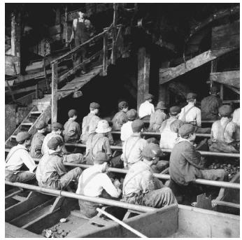 Boys working at an anthracite coal mine in a coal breaker, where coal was crushed, cleansed, and sorted (c. 1900910). (©CORBIS)