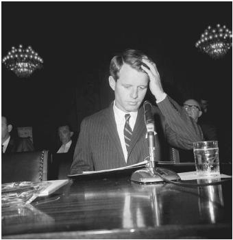 Senator Robert F. Kennedy (D-N.Y.), urges the Senate Judiciary Subcommittee to &quot;save lives and spare thousands of families grief and heartbreak,&quot; by passing a gun control bill, May 1965. A significant gun control act would not be passed, however, until after Robert Kennedy's assassination in 1968. (BETTMANN/CORBIS)
