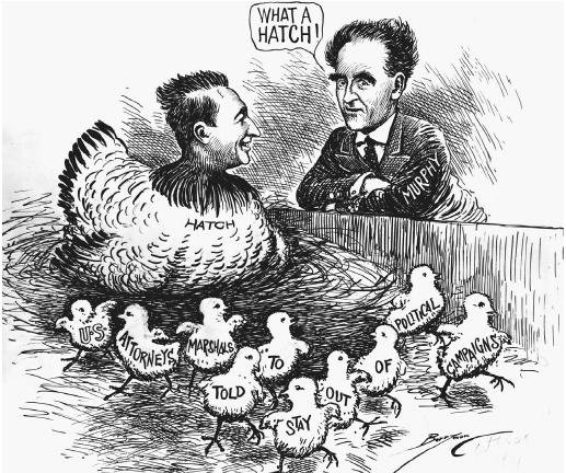 Senator Carl A. Hatch (D-N. Mex.) is depicted in this October 1938 cartoon as a hen nesting over her chicks, which represent provisions of the Hatch Act. Attorney General Frank Murphy looks on with approval. (LIBRARY OF CONGRESS, PRINTS AND PHOTOGRAPHS DIVISION)