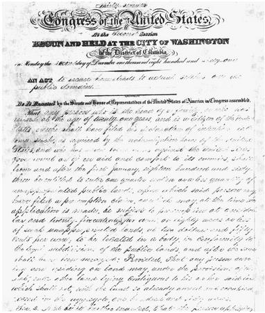 A handwritten copy of the Homestead Act, 1862. (US NATIONAL ARCHIVES AND RECORDS ADMINISTRATION)