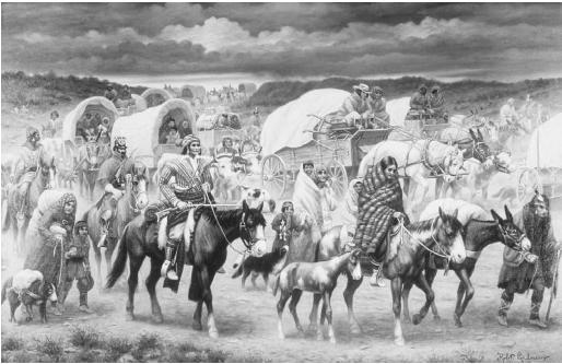 Trail of Tears, 1838, by Robert Lindneux. This painting shows the Cherokee marching to Oklahoma after being forcibly removed from their native land in Georgia. (THE GRANGER COLLECTION)