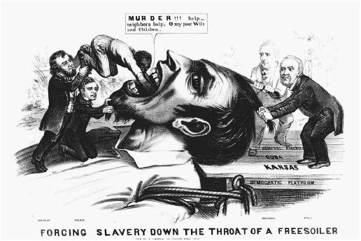 "In this 1856 drawing, Democrats are criticized as responsible for the violence against freesoilers in Kansas. The freesoiler is bound to the ""Democratic Platform""; presidential nominee James Buchanan and Senator Lewis Cass restrain him; and Senator Stephen Douglas and President Franklin Pierce force a black man into his mouth. (LIBRARY OF CONGRESS, PRINTS AND PHOTOGRAPHS DIVISION)"