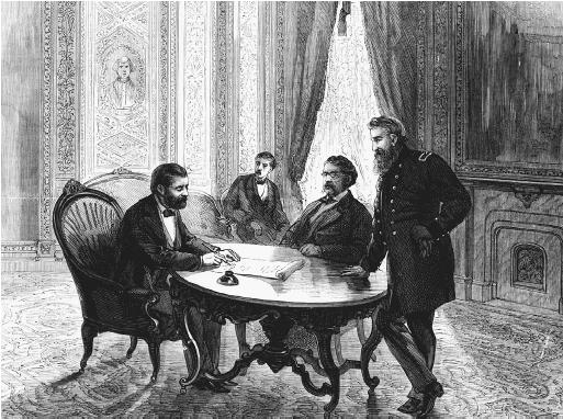 President Ulysses S. Grant signs the Ku Klux Klan Act in the President's room at the Capitol, April 20, 1871. Also shown in this illustration, published in Frank Leslie's Illustrated Newspaper, May 13, 1871, are Secretary of the Navy George M. Robeson, seated, and General Horace Porter. (LIBRARY OF CONGRESS, PRINTS AND PHOTOGRAPHS DIVISION)