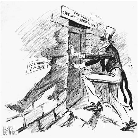 A provision of the National Industrial Recovery Act required that employers recognize the right of workers to organize. Strikes increased as a result of union organizing, and as this cartoon shows (published July 18, 1934, during the San Francisco General Strike), questions were being asked about whether organized labor was helping the economy recover. (LIBRARY OF CONGRESS, PRINTS AND PHOTOGRAPHS DIVISION)