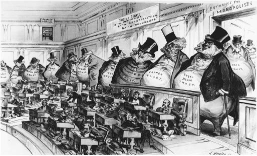 "Cartoon titled ""The Bosses of the Senate,"" published in Puck, January 23, 1889. The Senate is watched over by giants, representing various industry trusts, while the ""People's Entrance,"" located on the balcony, is closed. (LIBRARY OF CONGRESS, PRINTS AND PHOTOGRAPHS DIVISION)"