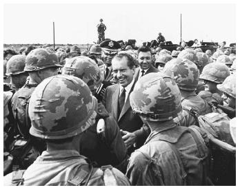 President Richard Nixon visits troops at their headquarters, twelve miles north of Saigon, July 1969. Congress largely acquiesced to presidential policy during the early years of the Vietnam War. Later in the warspecially during Nixon's second term as presidentongress played a more active role in Vietnam policy decisions.(© AP/WIDE WORLD PHOTOS)
