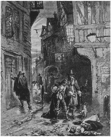 Drawing depicting the effect of Bubonic plague in eighteenth-century London.