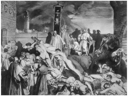A painting depicting the effect of an epidemic (in this case, the plague in Florence, Italy).