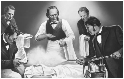 Joseph Lister (right) pioneered the use of antibacterial techniques in hospitals, including the use of disinfectant spray during operations.