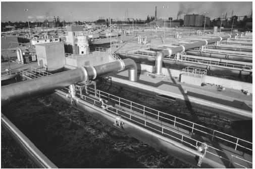 A wastewater treatment plant in Detroit, Michigan.