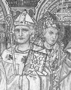 A mosaic of Augustine (left); he lived to become a devout and influential Christian, but in his Confessions he describes his youthful doubt and confusion. Reproduced by permission of the Corbis Corporation.