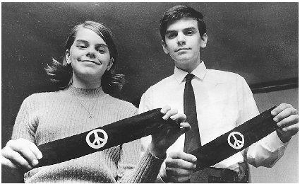 Mary Beth and John Tinker were suspended from school for wearing armbands protesting the Vietnam War. Reproduced by permission of the Corbis Corporation.