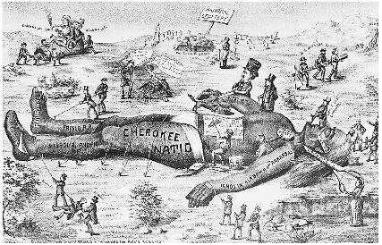 A political cartoon showing injustice and cruelty against the Cherokee Nation. Reproduced by permission of the Corbis Corporation.